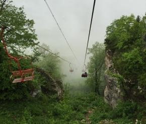 Канатная дорога на Уна-Коз в тумане